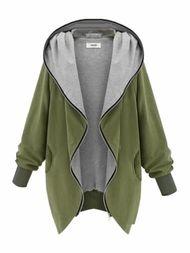 Long Sleeve Hoodied Contrast Color Zipper Coat