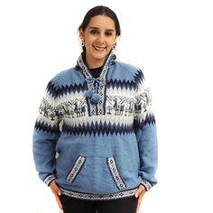 SWEATER Hoodie V Neck alpaca and blend made in PERU INCA steel Large