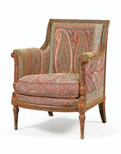 A CARVED MAHOGANY BERGÈRE STAMPED G. IACOB AND JME, LOUIS XVI -- Sotheby's