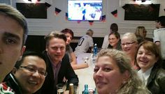 Our Marketing and Sales Team watches the German game together in a brewery #GERALG  #selfiesworldwide #fifaworldcup2014 #wm2014