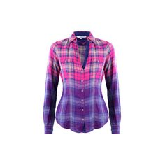 TALLY WEiJL: Dip-Dye Effect Plaid Shirt ($29) ❤ liked on Polyvore featuring…