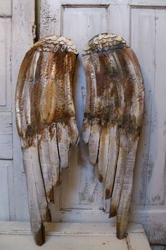 Angel wings large wood carved wall sculpture by AnitaSperoDesign, $180.00