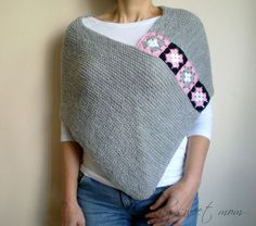 Light Gray Poncho with Afghan Motifs, Women Capelet Shawl : Nice! Garter stitch rectangle and crocheted granny squares for attaching… Light Grey Afghan Boho… Granny Square Poncho, Crochet Squares Afghan, Crochet Granny, Crochet Shawl, Knit Crochet, Granny Squares, Grey Poncho, Knitted Poncho, Knitted Shawls
