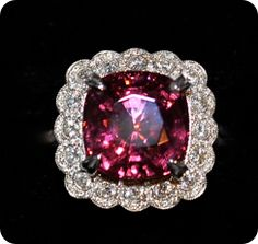 Very Rare Rhodolite Garnet  and Diamond Ring 18K White Gold 11.25 Carat Very Rare Rhodolite Garnet 1.85 Carats Diamonds A&E 9