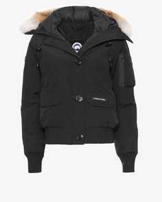 Canada Goose Chilliwack Fur Trim Hooded Bomber Jacket: Black   Shop IntermixOnline.com