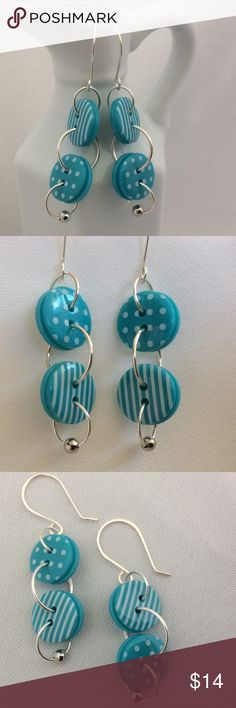 """Cute as a Button Earrings in Teal Blue Really cute and fun to wear. Colorful and light weight. Great for summer. These earrings are just under 2"""" long. Becky Barnes Designs Jewelry Earrings"""