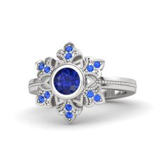 Beautiful White Gold on 925 Sterling Blue Sapphire Wedding Disney Princess Ring #adorablejewelry