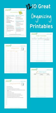 Simplify 101 has 12 great organizing printables that might help make life easier for you!  Choose from: One Year of Organizing Checklists Birthday Party Checklist Trouble Spots Wardrobe Shopping List Party Supply Inventory Finish It Friday Freezer...