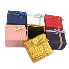 Wholesale 6PCS Six Colors Wedding Paper Ring Earring Jewelry Gift Boxes