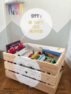 DIY : Caisse bibliothèque enfant à roulettes .  merlin-pimpant.fr