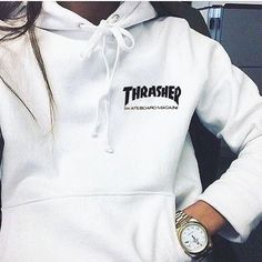 """Thrasher""Quality hooded sweater flame slide hip sweater Letters on the side White from Summer11. #slidesoutfit"