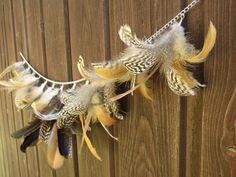fall decoration feather garland Feder Girlande braun beige Kette silber von HolzundLeinen auf Etsy