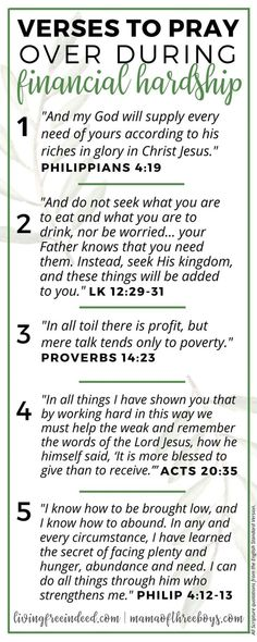 Wellness 6 Verses To Pray During Financial Hardship - Free Indeed - Here are several verses to pray over when it comes to finances. Do not let your mind think you don't have enough. Firmly believe God will provide. Prayer Scriptures, Bible Prayers, Faith Prayer, Prayer Quotes, Bible Verses Quotes, Faith Quotes, Verses On Faith, Prayer For Wisdom, Catholic Bible Verses