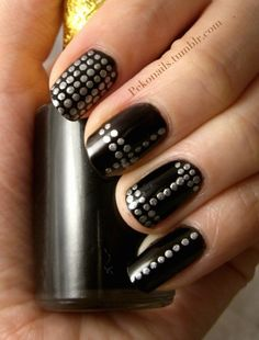 Black Nails With Studded Effects