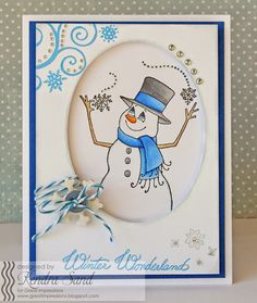Great Impressions Stamps, Kendra Sand, Magical Snowman, Snowflake Swirl Background, Snowflake Cluster and Winter Wonderland stamps, Christmas Card