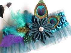 Peacock Wedding Garter, Prom Garter, Zebra Garter, Peacock Garter, Teal MINT Blue Garter, Kanzashi Flower, Feather Garter, Art Deco Garters