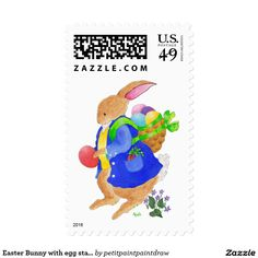Easter Bunny with egg stamp