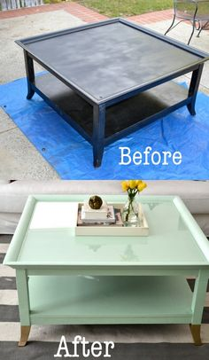 Old black coffee table from craigslist painted mint green with gold feet! Oh the power of paint...