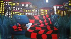 Original surrealistic contemporary large 5' x 3' oil painting by A Clay 1998  #Surrealism