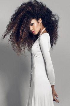 Long curly kinky hair