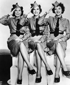 "The Andrews Sisters in their ""Boogie Woogie Bugle Boy"" uniforms! - I did a dance to this song one year for tap, and we had pant uniforms very similar... people were talking about it several years later!"