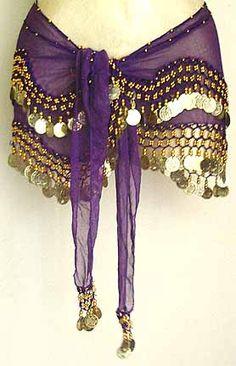 Purple Belly Dancing Wave Design Hip Scarf 2 Line GOLD Coins $19.99