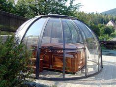 Gallery of hot tub enclosure Spa Dome Orlando installations - high quality retractable hot tub enclosure