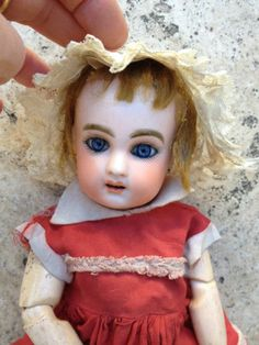 rare small bleuette jumeau bisque doll size 2 and inches tall Old Dolls, Antique Dolls, Vintage Dolls, French Antiques, Vintage Antiques, Dream Doll, Bisque Doll, Child Doll, Doll Maker