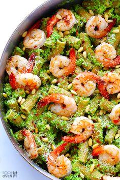 Shrimp Pasta with Broccoli Pesto + Cuisinart Food Processor GIVEAWAY | gimmesomeoven.com