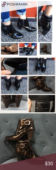 """7.5, Sporto ladies all weather booties, EUC Super cute and practical ladies rain boots. Has a black patent-look with white thread, decorative brushed nickel buckle and inside zipper. A soft flannel-like fabric covers the padded ankle neck, so very comfy. Stylish almond toe. Stacked sculpted 2.75"""" heel and 1/4"""" platforms on rubber soles. City girls love to be prepared. In EUC. Sporto Shoes Ankle Boots & Booties"""