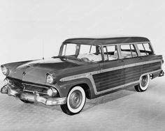 Ford Country Squires Station Wagon 1955 8x10 Reprint Of Old Photo