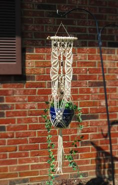 WHITE Plant Hanger Cotton Rope Macrame Wtxhite Plant Holder
