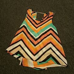 Chevron Pattern Top This cute little top can compliment anything you pair it with. The material is sheer so I highly recommend wearing a camisole. Or not if that's your thing! The back of the top has a crisscross affect to it which is really cool. love J Tops