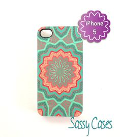 iPhone 5 Case Mint and Coral Quilted Pattern Ships from USA. $16.75, via Etsy.