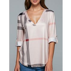 V Neck 3/4 Sleeve Plaid Blouse (17 BAM) ❤ liked on Polyvore featuring tops, blouses, three quarter sleeve tops, v neck tops, tartan blouse, pink top and pink blouse