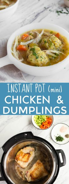 Instant Pot Chicken and Dumplings for Two in the Instant Pot Mini. Instant Pot C. - Instant Pot Chicken and Dumplings for Two in the Instant Pot Mini. Instant Pot Mini 3 quart recipes for two. via DessertForTwo Instant Pot Multi Cooker, Small Instant Pot, Instant Pot Pressure Cooker, Pressure Cooker Recipes, Slow Cooker, Pressure Cooking, Mini Crockpot Recipes, Soup Recipes, Chicken Recipes