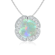 Angara Opal and Diamond Halo Inverted V-Bale Pendant 44U77GqeJ