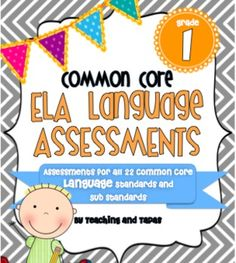 This 45 page assessment pack includes one and two page assessments for all 20 Fourth Grade Common Core ELA Language standards and sub-standards. Common Core Ela, Common Core Reading, Common Core Standards, 4th Grade Ela, 5th Grade Classroom, Classroom Ideas, Future Classroom, Grade 2, Classroom Activities