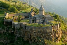 The Tatev Monastery in Armenia. Dated IX Century AD. Armenia was the first country which adopted Christianity as official religion, in the early IV Century AD. Exotic Places, Eastern Europe, World Heritage Sites, Monuments, The Good Place, Medieval, Beautiful Places, Amazing Places, Destinations