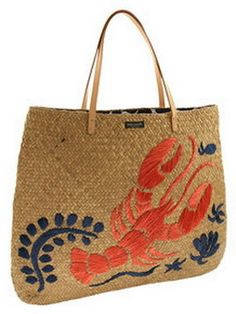 72d798192a Kate Spade Cape Cod straw bag with lobster embroidery Kate Spade Totes