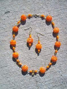 Orange & Yellow Swirl Glass Necklace and Earrings