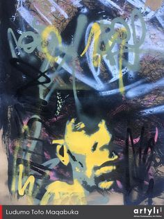 In this intriguing portrait of Mos Def, American rapper, singer, actor, and activist, Ludumo uses opposing colors yellow and purple to separate background and middle ground. Using stencil-like street art techniques with layers of graffiti typography, he creates nuances of poems, rhymes, and words floating through the poet's mind and the surrounding airwaves. Maqabuka's composition uses spray-painted lines that direct the viewer's focus to his face again and again. Mos Def, American Rappers, Art Techniques, Poet, 9 And 10, Master Chief, Separate, Graffiti, Stencils