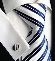 Navy Blue Tie  Cufflinks ~ #Wedding #Groom 's Attire