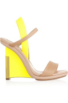 Reed Krakoff|Leather and patent-leather wedge sandals|NET-A-PORTER.COM