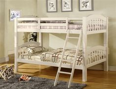 Picket French headboard, footboard and sturdy square legs are design features of this twin over twin bunk bed. This bunk is perfect for guests or sleepovers. Finished in three colors. White Bunk Beds, Wood Bunk Beds, Twin Bunk Beds, Kid Beds, Twin Twin, Coney Island, Bunk Beds With Drawers, Wood Slats, Wood Wood