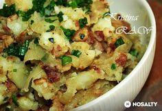 Hagymás krumpli baconnel Main Dishes, Side Dishes, Hungarian Recipes, Hungarian Food, Cod Fish, Potato Recipes, Cake Cookies, Potato Salad, Cauliflower