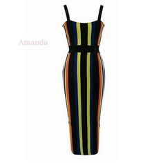>> Click to Buy << midi bandage dress multicolor striped celebrity XL extra large size women summer dress cocktail vestido backless party dresses #Affiliate