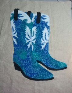Blue Boot Block for 40 Something Cowgirls Charity Quilt Project