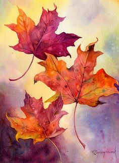 Drifters de Kaye Synoground: conozca más sobre este artista en: www. Watercolor Pictures, Watercolor Leaves, Watercolor Cards, Watercolor Landscape, Watercolor Painting Techniques, Watercolor Projects, Watercolor Paintings, Gouache Painting, Watercolours