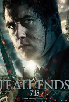 "11x17 Inch Harry Potter and The Deathly Hallows Part 2 Movie Poster features a close-up of Neville Longbottom, dirty and bloody from the battle of Hogwarts, holding the Sword of Gryffindor. The text reads, ""IT ALL ENDS 7.15″. Get it now at http://harrypottermovieposters.com/product/harry-potter-and-the-deathly-hallows-part-2-movie-poster-style-m-11x17-inch-mini-poster/"